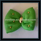 green decorative foam fabric flower with golden beads