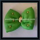 green decorative foam fabric flower with golden beads