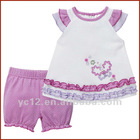 Summer 100%cotton 2pcs embroidered baby clothing sets