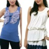Fancy tank top with Big Butterfly tie front