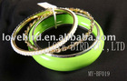 fashion cuff metal beads jade bangle set