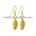 24 KT Yellow Gold Plated over REAL Pine Cone Leaf Dangle Earrings with 24k French Hook Back Finding