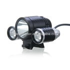 Kinfire TD1800 Bright White Light 1 Cree T6 and 2 Cree R5 LED 3-Mode LED Bicycle Headlamp,4 Pcs 18650 Batteries,US Adapter Black