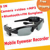 Free Shipping 5in1 Video Record camera mp3 bluetooth fm multi-functional sunglasses 2GB