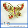 Vintage Butterfly Pink Crystal Brooch With Gold Plated