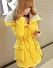 Fashionable Winter Pockets String Lapel Hair Long Coat Yellow GX12092709