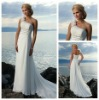 Cheap Price White Chiffon High Qaulity One Shoulder Chiffon Beach Wedding Dresses