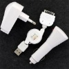 3in1 Wall Car USB Charger Kit for iPhone 3G touch nano USB charger for ipod