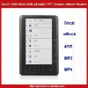 7inch eBook Reader 720P HD Color Screen With MP3 MP4