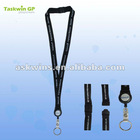 Custom logo printed lanyard with safety lock, plastic retractable reel attached
