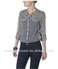Western design stripe t shirt for women