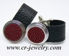 Metal Leather Cufflinks