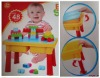 plastic building blocks toys with a table