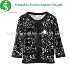 ladies' newest fashion long sleeve buttons knitted green thin cardigan sweater