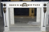 marble fireplace integrate with bronze
