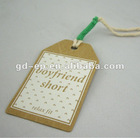 garment swing tag hangtag, kraft swing tag