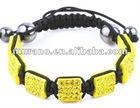 Pave Beads Citrine Square Shamballa Bracelet BD-020
