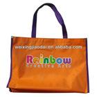 420D orange nylon large foldable reusable shopping bag with custom size and logo