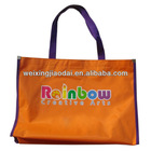 420D orange nylon large foldable reusable shopping bag with custom size and logo