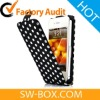 Dots Pattern Magnet Flip Leather Hard Case For iPhone 4S - Black