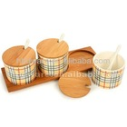 Ceramic condiment set with stand