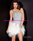 2012 Hot Sale Sweetheart Strapless Crystals Feather Short Mini Cocktail Party Dresses