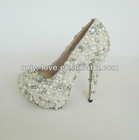 BS605 high heel pearls with crystals bridal wedding shoes
