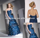 Strapless Chiffon Asymmetrical pleated and ruffled sweetheart neckline prom dress OLP166