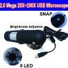 2.0 Mega 20X~200X Digital USB Microscope with 8 LEDS