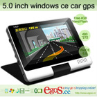 New Arrival 5.0 inch 360 Degree Rotation Windows ce Car GPS With Free IGO Map