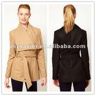 Big Collar Belted Short Coat,2012 women winter coat