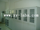 Lab Equipment Table and Large Wooden Flammable Storage Cabinets