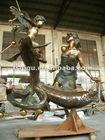 large bronze Pisces sculpture brass woman sculpture brass fish sculpture