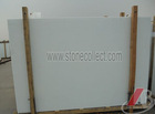Pure white crystallized marmoglass slab