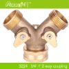 "3/4"" BRASS 2-WAY SHUT OFF COUPLING WITH VALVE"