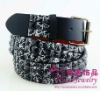 Black Pyramid Studded Snap on Belt