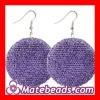 Purple Basketball Wives Bamboo Crystal Hoop Earrings