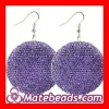 Purple Basketball Wives Bamboo Crystal Hoop Earrings