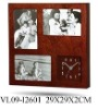 "wooden clock W/ 3 4X6""photo frame"