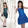 Sleeveless taffeta A-line Dress with thin strap, hand-beaded square neckline and pickup skirt Lovely Children Pary Dresses GD110
