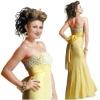 OG0122 Beautiful Bateau Beaded Waistband Mermaid Sweet Yellow Party Evening Dress