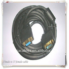 Black VGA 15pin male to female M/F cable VGA Extension CABLE LCD Monitor Cable