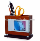 LED Pen holder with electronic Carlendar at factory price