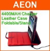 for ipad battery bag TPU leather case with stand 4400MAH ,Red/Black,USB to Dock,A grade leather,500 pcs for OEM order