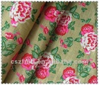 High quality 100% linen fabric printed with flower