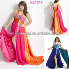 One Shoulder Heavy Beaded Taffeta Shoulder Scarf Side Slit Floor Length Chiffon Big Size Women Dress Evening Dress