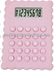 pink lovely girl using office calculator