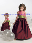 Sleeveless bodice with draped waistband and back bow children dress