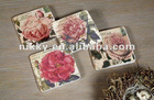 latest designs on sale MDF coaster, blank coasters with flowers, waterproof beer coaster placemat