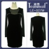 beading formal woman dress,long sleeve velvet dresses 2012